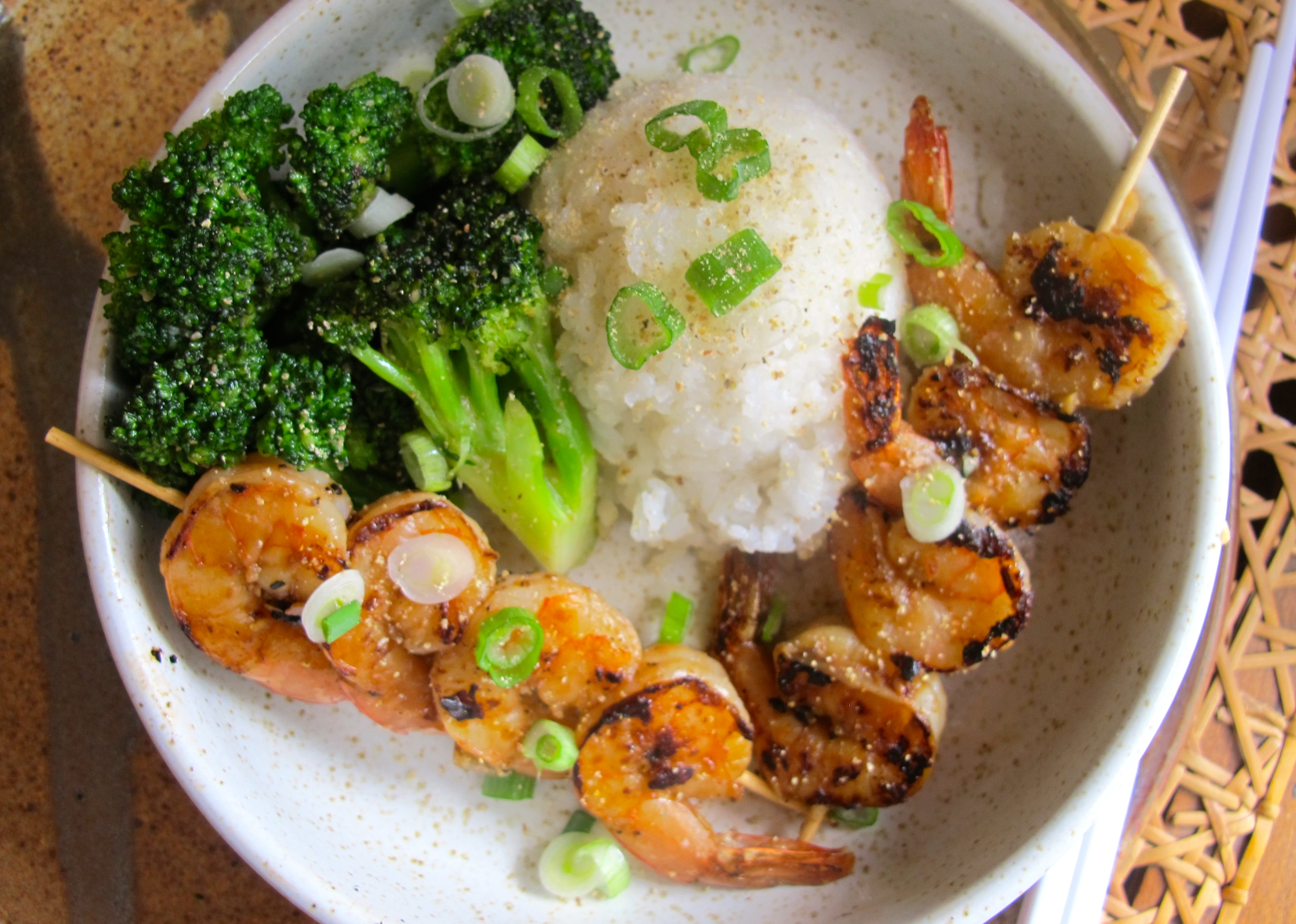 Friday Fish–Garlic + Ginger Shrimp and Broccoli with Sticky Rice